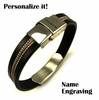 Men's Black Leather & Steel Bangle Bracelet Personalized W. Name Engraving #1033