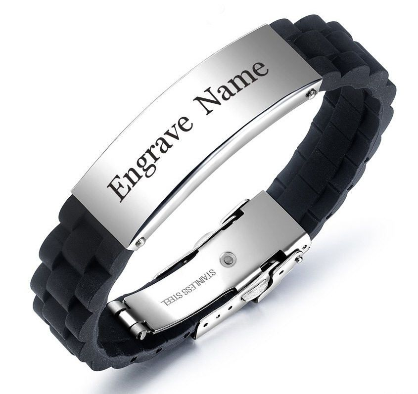Men's Black Silicone & Steel Bangle Bracelet Personalized W Name Engraving #1023