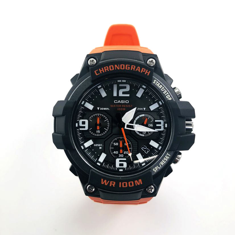 Men's Casio Black & Orange Chronograph Sports Watch MCW100H-4AV MCW100H-4A