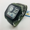 Men's Casio Digital Square Green And Black Resin Watch AE1200WHB-3BV