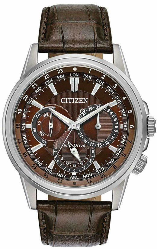 Calendrier Pathfinder.Men S Citizen Calendrier Multifunction Brown Leather 44mm Watch Bu2020 29x