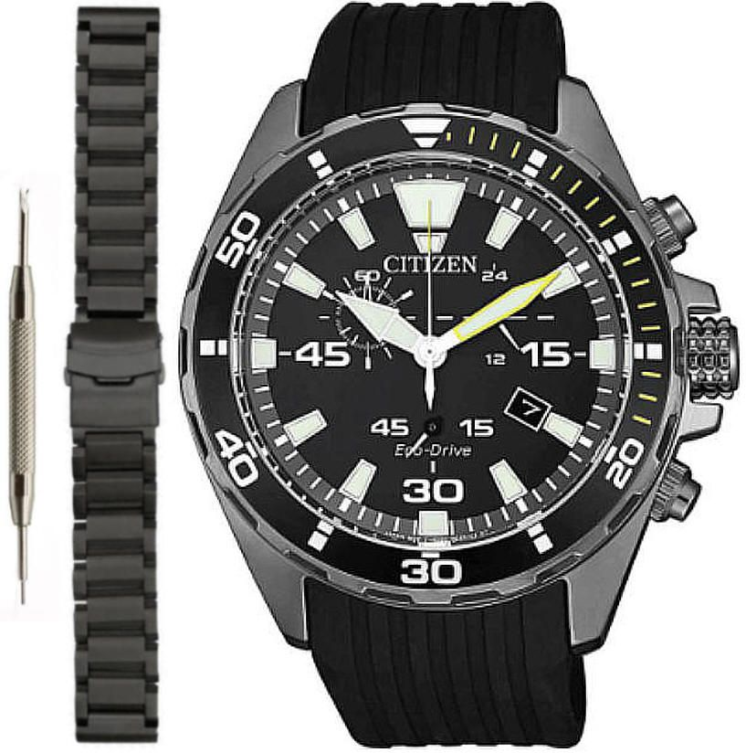 Men's Citizen Eco-Drive Chronograph Diver Style Watch AT2437-13E