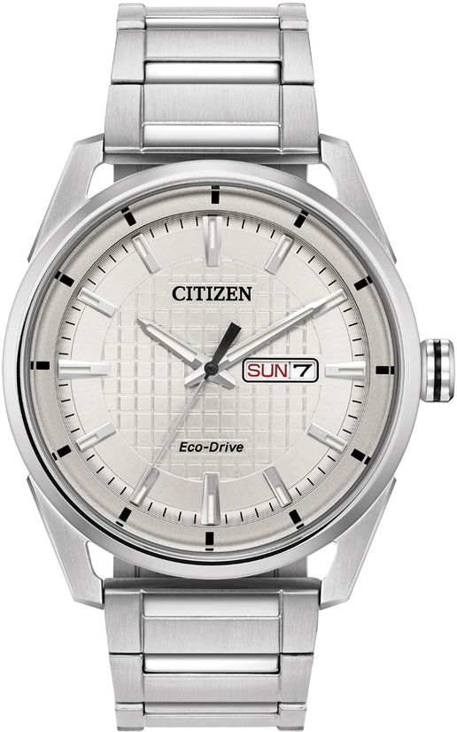 Men S Citizen Eco Drive Drive Silver Solar Powered Watch Aw0080 57a