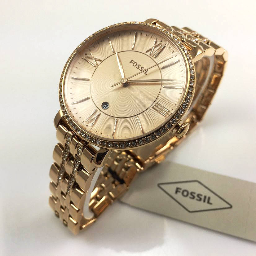 Women's Rose Gold Fossil Jacqueline Steel Glitz Watch ES3546