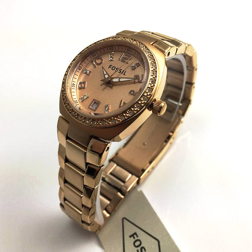 Women's Rose Gold Fossil Crystallized Watch AM4508