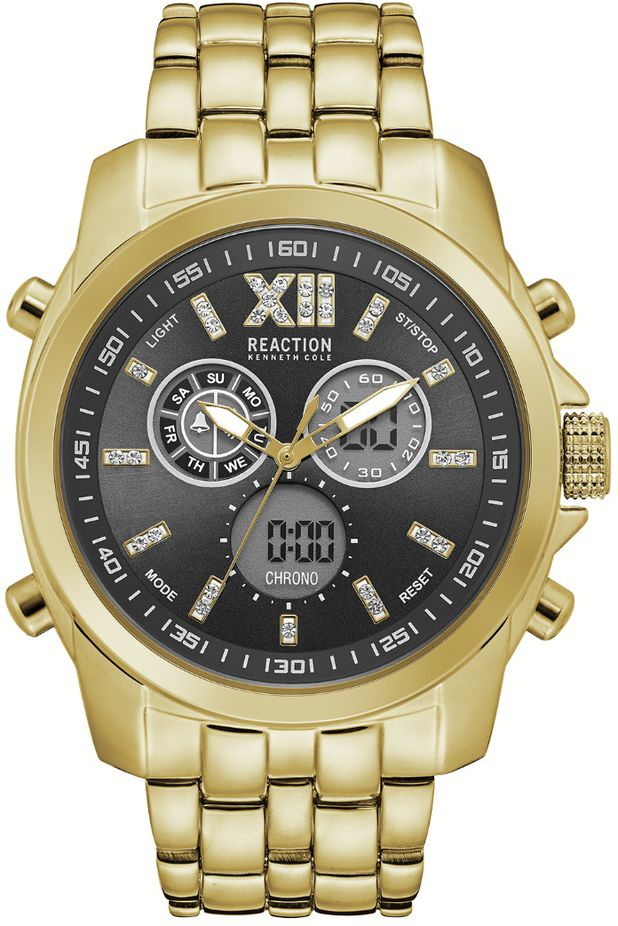 Men's Kenneth Cole Reaction Gold Tone Digital Analog Watch RK50707001