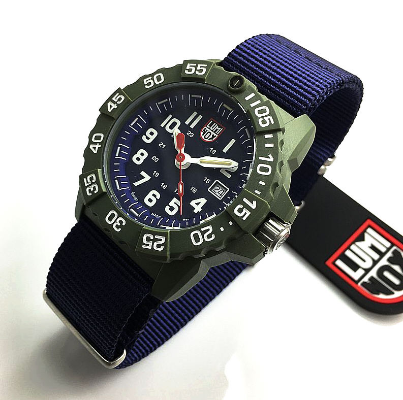Men's Luminox Navy SEAL Trident Diver's Blue Nylon Strap Watch 3503.ND