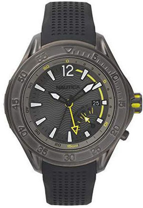 Men's Nautica Breakwater Grey Steel Case 50mm Watch NAPBRW003