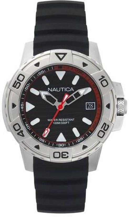Men's Nautica Edgewater Black Silicone Band 45mm Watch NAPEGT001