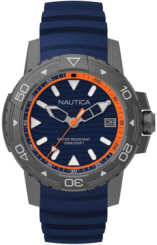 Men's Nautica Edgewater Blue Silicone Band 45mm Watch NAPEGT003