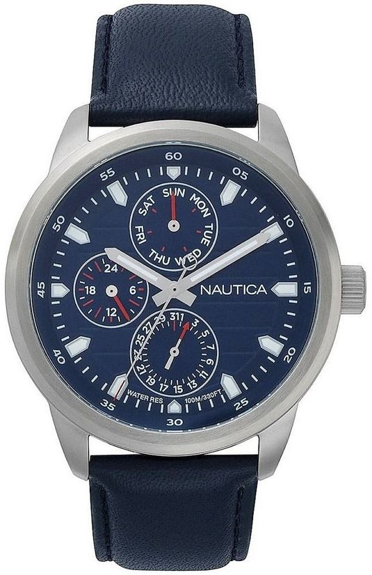 Men's Nautica Forbell Multifunction Blue Leather Band 44mm Watch NAPFRL002