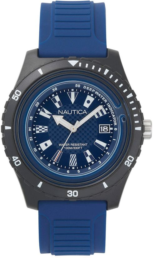 Men's Nautica Ibiza Black And Blue Silicone Strap 44mm Watch NAPIBZ008
