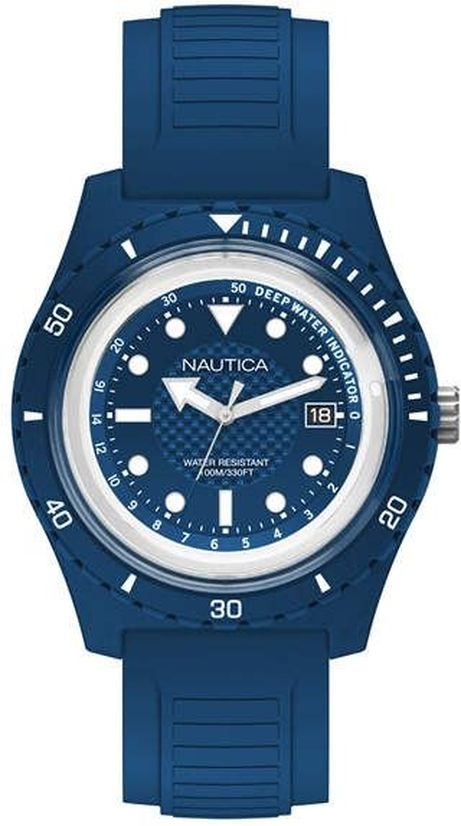 Men's Nautica Ibiza Blue Silicone Strap 44mm Watch NAPIBZ005