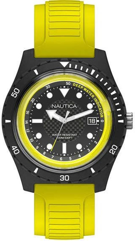 Men's Nautica Ibiza Yellow Silicone Band 44mm Watch NAPIBZ003