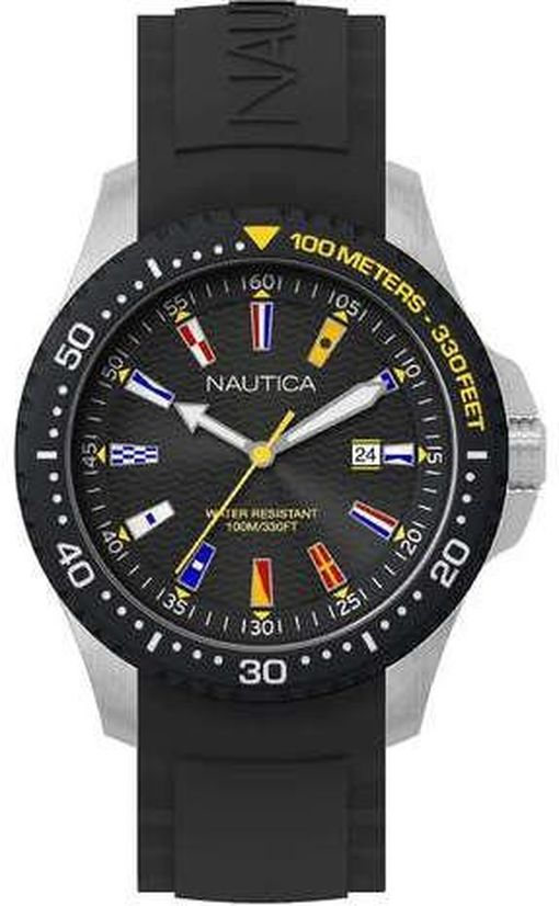 Men's Nautica Jones Beach Black Silicone Strap 44mm Watch NAPJBC003