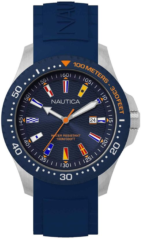 Men's Nautica Jones Beach Blue Silicone Strap 44mm Watch NAPJBC002