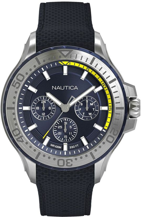 Men's Nautica Multifunction Blue Silicone Band 49mm Watch NAPAUC003
