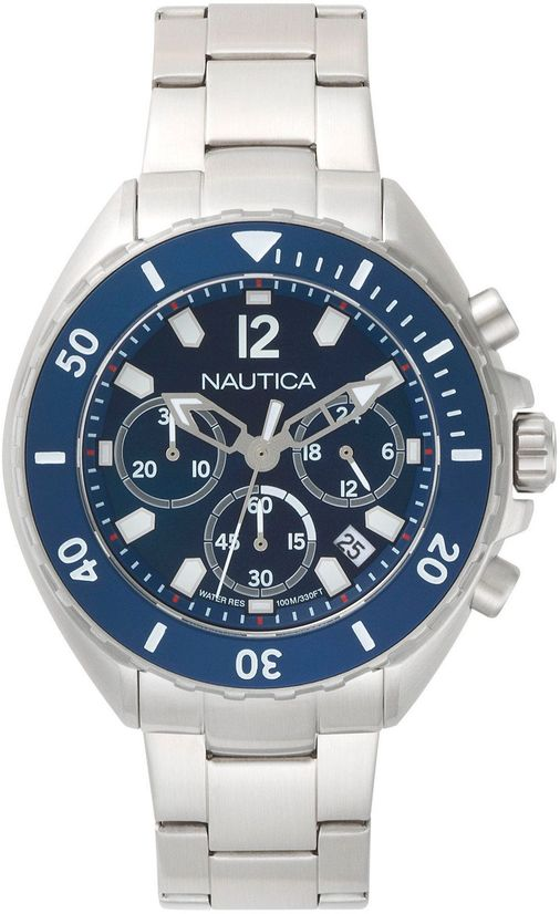 Men's Nautica Newport Chronograph Blue Dial Steel 47mm Watch NAPNWP009