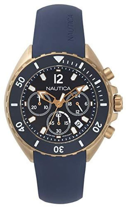 Men's Nautica Newport Chronograph Blue Silicone Strap 47mm Watch NAPNWP007