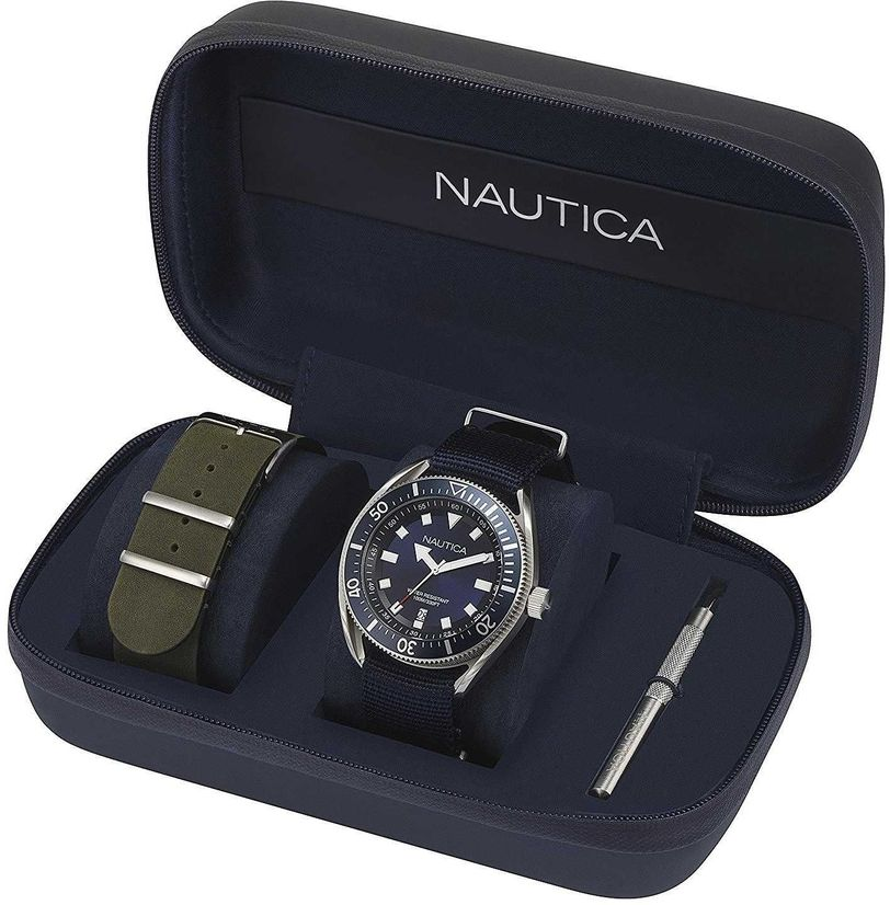 Men's Nautica Nylon And Leather Strap 45mm Watch Set NAPPRF009