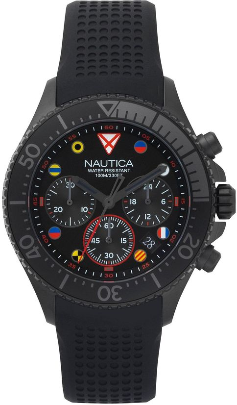 Men's Nautica Westport Chronograph Black Silicone 44mm Watch NAPWPC003