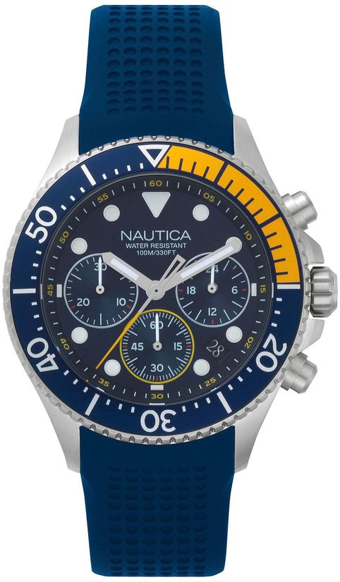 Men's Nautica Westport Chronograph Blue Silicone 44mm Watch NAPWPC002