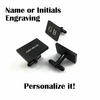 Men's Personalized Black Rectangle Cufflinks Stainless Steel With Name Engraving #1002