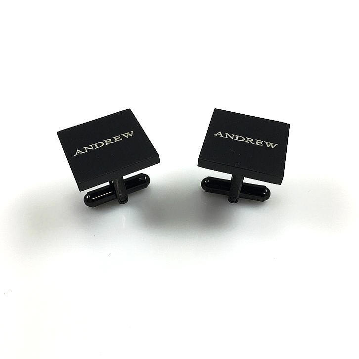 Men's Personalized Black Square Cufflinks Stainless Steel With Name Engraving #1007