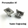Men's Personalized Cufflinks Solid Steel With Skull on Fire Name Engraving #0001