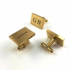 Men's Personalized Gold Tone Rectangle Cufflinks Stainless Steel Name Engraving #1003