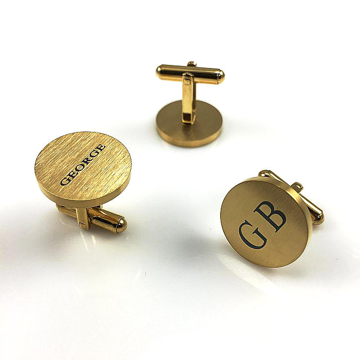 Men's Personalized Gold Tone Round Cufflinks Stainless Steel With Name Engraving #1013