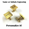 Men's Personalized Gold Tone Square Cufflinks Stainless Steel With Name Engraving #1008