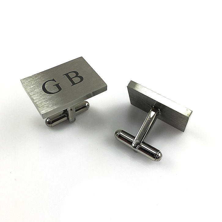 Men's Personalized Rectangle Cufflinks Solid Stainless Steel With Name Engraving #1001
