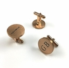 Men's Personalized Rose Gold Round Cufflinks Stainless Steel With Name Engraving #1014