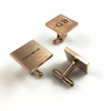Men's Personalized Rose Gold Square Cufflinks Stainless Steel With Name Engraving #1009