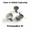 Men's Personalized Round Cufflinks Solid Stainless Steel With Name Engraving #1011