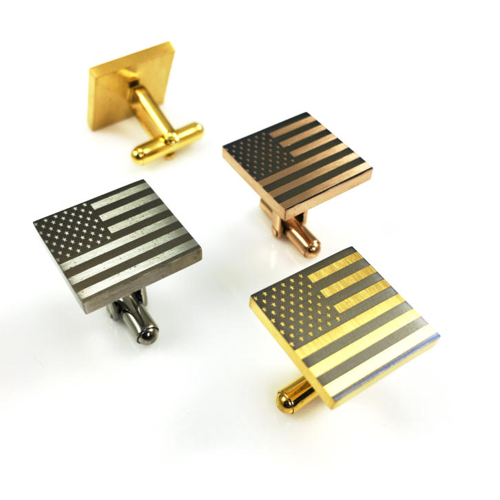 Men's Personalized Steel Square Cufflinks USA American Flag Name Engraving #0298