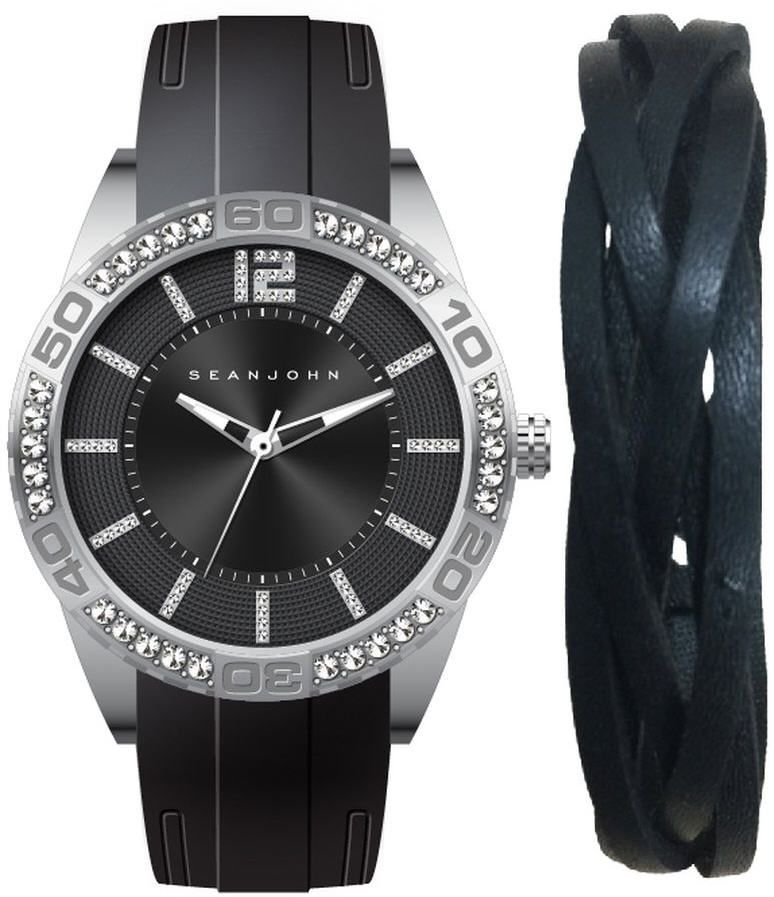 Men's Sean John Gift Set Black Tone crystallized Black Silicon Watch SJ51030006