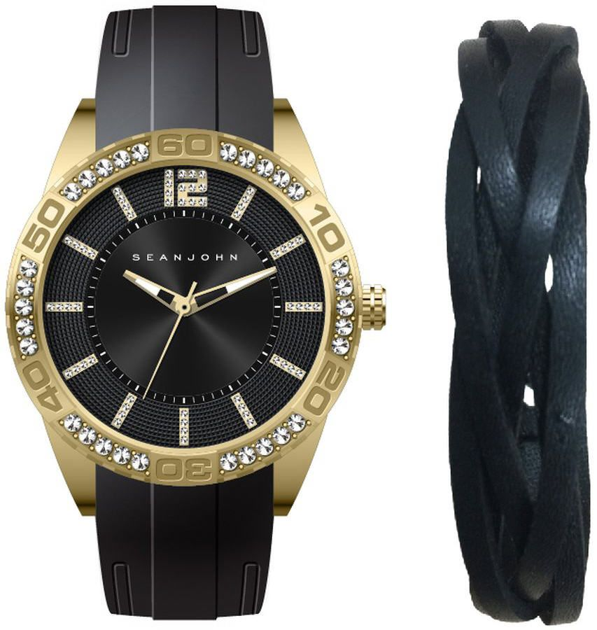 Men's Sean John Gift Set Gold Tone crystallized Silicon Watch SJ51030008