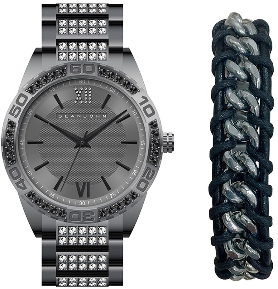 Men's Sean John Gift Set Gun Tone crystallized Metal Watch SJ51031004