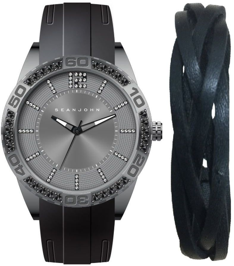 Men's Sean John Gift Set GunTone crystallized Black Silicon Watch SJ51030005