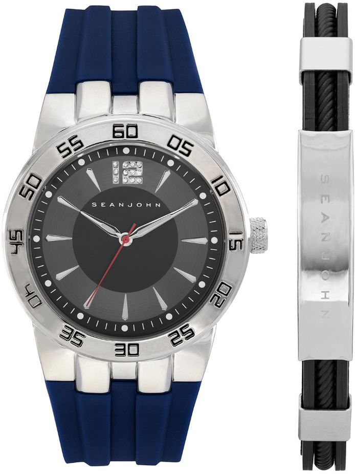 Men's Sean John Gift Set Silver Tone Blue Silicon Band Watch SJ51028003
