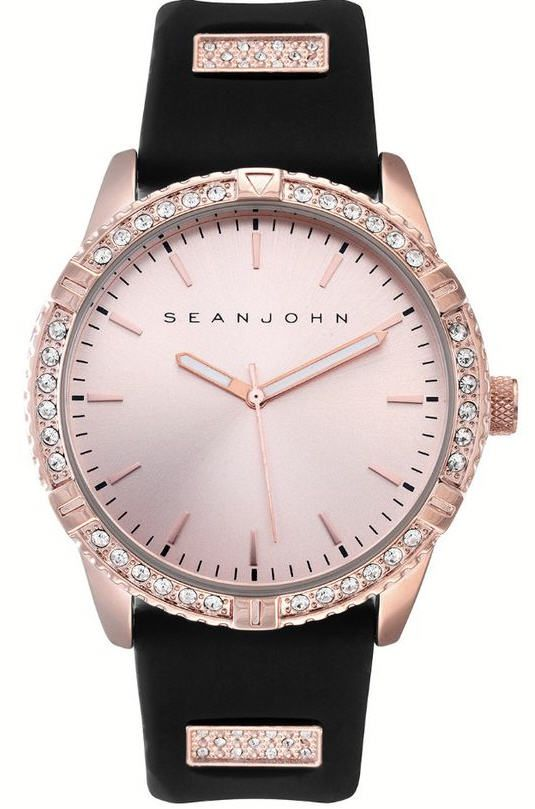 Men's Sean John Sport Rose Gold Tone crystallized Silicon Band Watch SJ50896001