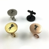 Men's Solid Round Stainless Cufflinks Cuff Links Bucking Horse Stallion #0071