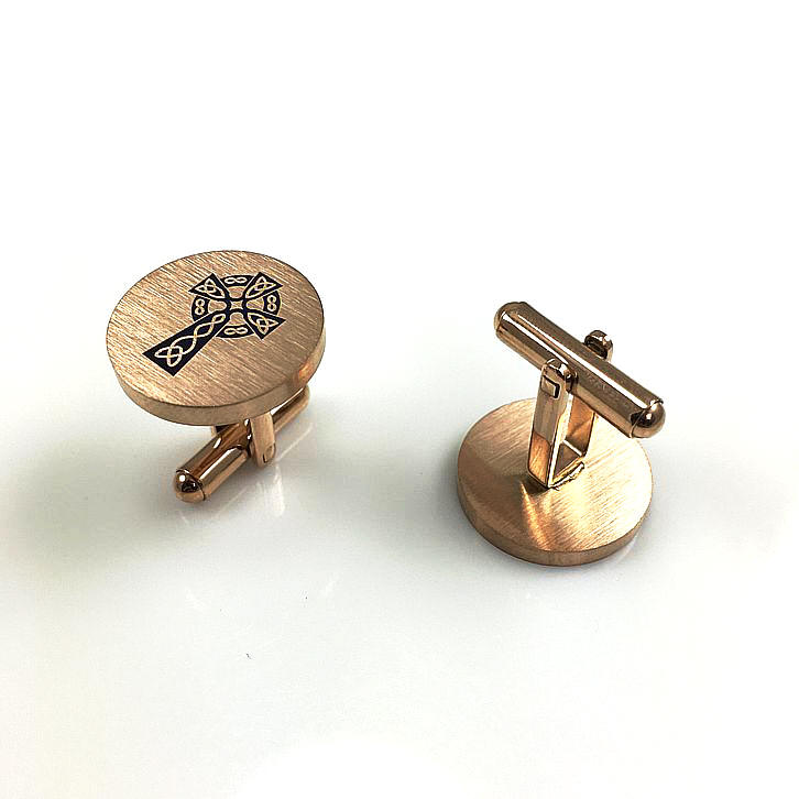 Men's Solid Round Stainless Cufflinks Cuff Links Jesus Christ Cross Logo #0122