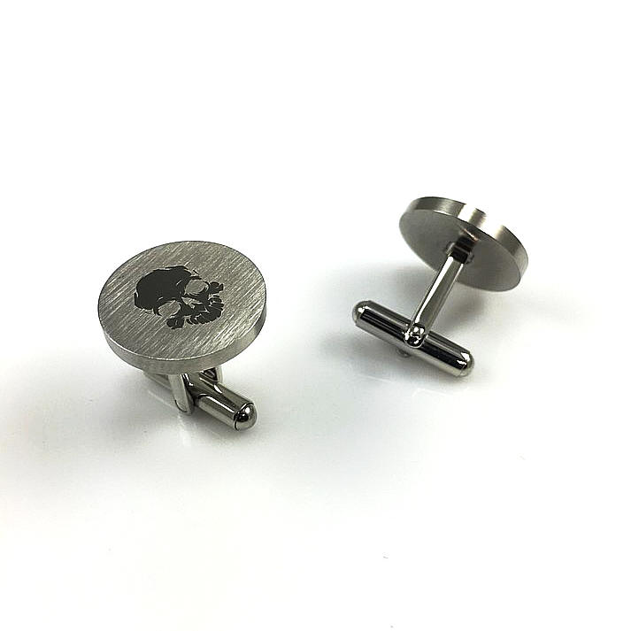 Men's Solid Round Stainless Cufflinks Cuff Links With Skull Logo #0004