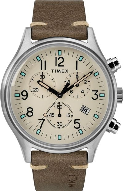 Men's Timex MK1 Chronograph 20mm Leather Band Watch TW2R96400