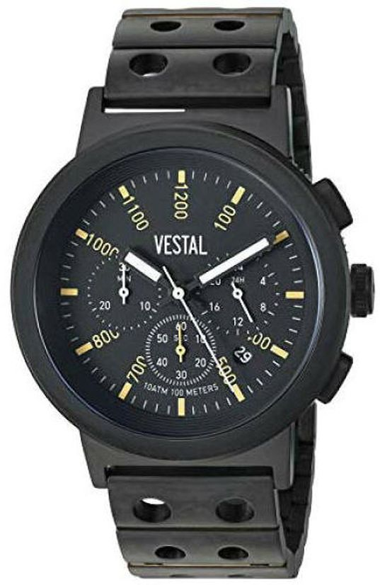 Men's Vestal Retrofocus CHR Chronograph Metal Black Watch SLR44CM03-DBKM
