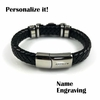Mens Black Braided Leather Bangle Bracelet Personalized Buckle Name Engraving 16