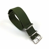 Relic Compatible Military Green One Piece Slip Through Nylon Watch Band Strap Silver Buckle #6006